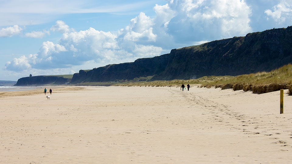 This picture depicts Benone Strand (also called Downhill Beach), one of the longest beaches in Northern Ireland at 7 miles long (11 km)