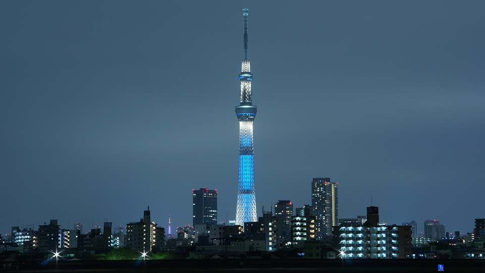 Tokyo's Skytree tower lights up the skyline