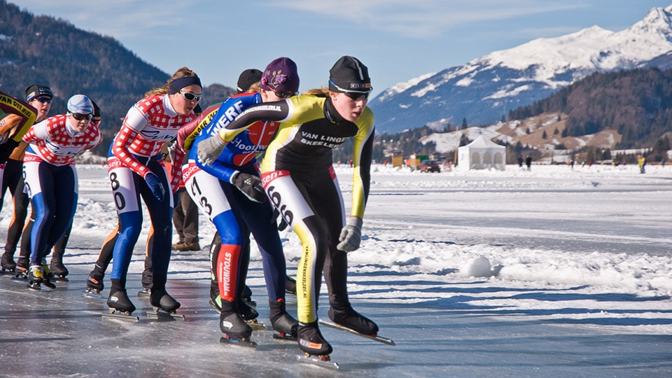 Professional skaters take on Lake Weissensee in Austria