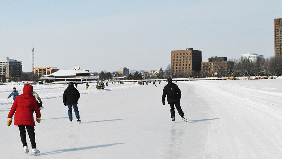 In Ontario, Canada, the Rideau Canal Skateway attracts many skaters to travel across the frozen lake.